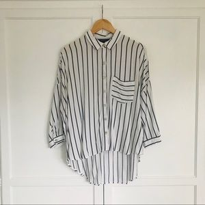 F21 White and blue stripe button up